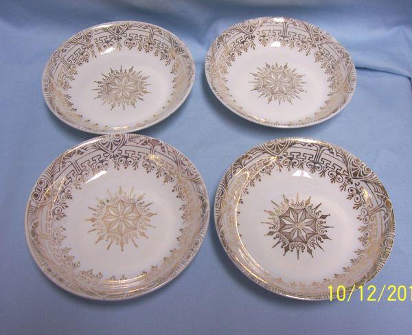 BOWLS: Vintage Stetson Fruit Bowls/Sauce Bowls with 22K Gold Greek Key & Shield Design & Trim
