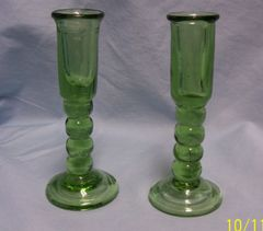 CANDLE HOLDERS: Hand-blown Long Stem Green Art Glass Candle Stick Holders by Colonial Williamsburg