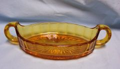 RELISH GLASS DISH: Vintage Amber Carnival Glass Boat Relish Dish with Handles by Imperial