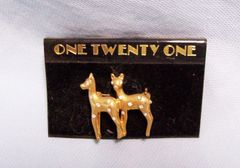 JEWELRY: Fashion Pin Cute Twin Gold Color Deer with Clear Rhinestones