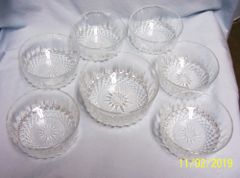 SET (7) DESSERT BOWLS: Arcoroc Crystal Dessert Bowls with Diamond Star Cut Glass