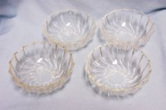 SET (4) DESSERT BOWLS: Set of (4) Clear Glass Dessert Bowls with Swirl Pattern