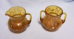 SUGAR AND CREAMER SET: Vintage Amber Hand-blown, Hand-crafted with Splash of White