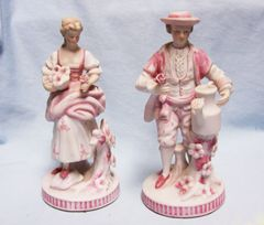 "FIGURINES: Vintage Pink Porcelain Bisque Man & Lady with Rose in Hand 6 3/4"" Tall"