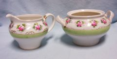 CREAMER AND SUGAR BOWL: Nippon Hand-painted Pink Roses with Green Band