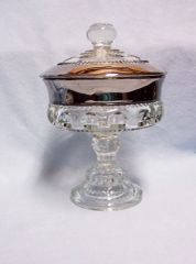 CANDY DISH: Kings Crown Wedding Band Platinum Indiana Glass Compote with Lid