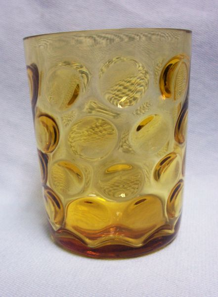 DRINKING GLASS: Vintage Hazel Atlas Amber Eldorado Dots Tumbler Drinking Glass 1960s