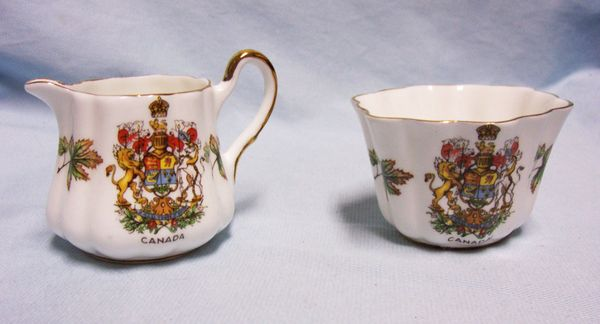 SUGAR & CREAMER: Taylor & Kent Bone China Coat-Of-Arms Sugar & Creamer Set. Circa 1960's