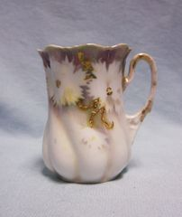 """CHOCOLATE MUG/CUP: Vintage Signed RS Prussia Collectible Floral Chocolate Mug Gold Trim Red Stamp Scalloped Rim 3"""" H"""