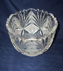 BOWL: Vintage USSR Crystal Bowl with Etched & Carved Patterns Saw-Tooth and Arched edges