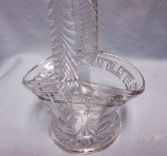 Candy Dish: Miniature EAPG Clear Glass Etched Greek Key Flower Basket with Handle (#6)
