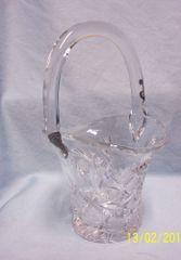 Miniature: Vintage Clear PbO Glass Flower Basket/Candy Dish with Handle & Star Pattern (#8)