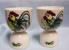 EGG HOLDERS: Cute Hand-painted Pair Ivory Color Reversible Egg Holders with Rooseters on front