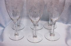 VINTAGE CHAMPAGNE GLASSES: Set 11 Gorgeous Etched Floral, Optic, Fluted Glasses