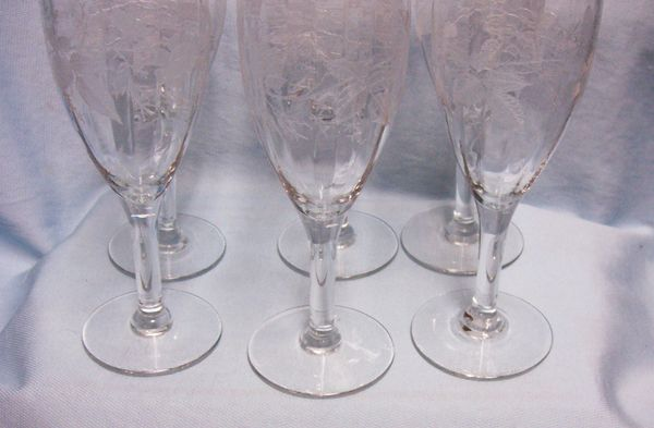 VINTAGE CHAMPAGNE GLASSES: Set 6 Gorgeous Etched Floral, Optic, Fluted Glasses