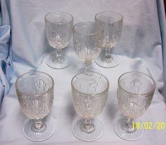 WINE GLASSES: Set (6) Jeannette Iris & Herringbone Depression Glass Wine Glasses