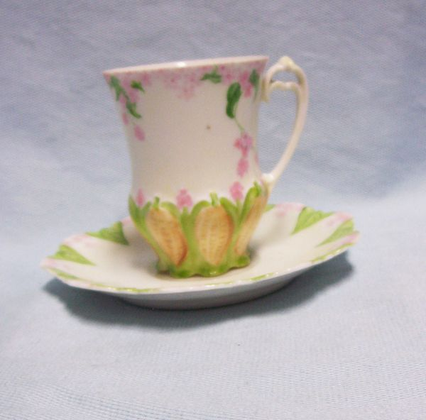 CUP & SAUCER: Vintage M.Z. Austria Cup & Saucer Set Scalloped Base with Double Loop Handle 1908