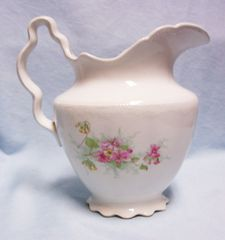 MILK PITCHER/JUG: Antique Homer Laughlin THE ANGELUS Floral Milk Pitcher 1905 - 1916