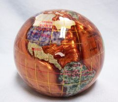 PAPERWEIGHT: Beautiful Copper Amber Gemstone Globe Paperweight with Mosaic Colorful Gemstones