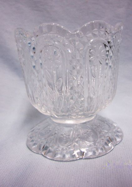CANDY DISH/CANDLE HOLDER; Clear Crystal Footed Glass Candy Dish by Avon
