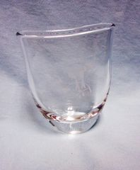 VASE: Clear Etched Love Birds Glass Oval Narrow Crystal Vase by OFFEFORS