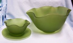 GLASSWARE: Set (3) piece Vintage Frosted Green Glass Dip/Salad Bowls & Plate with Ruffled Edges