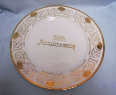 "DECORATIVE PLATE: 50th Anniversary Collectible Japan Fine China Plate Gold Trim 10 7/8"" Diameter"