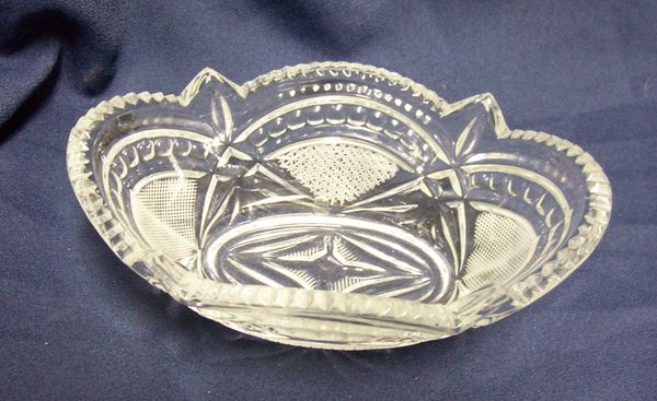 CANDY DISH: Clear Lead AB Crystal Glass Boat Shape Candy Dish Scalloped Saw Tooth Edges