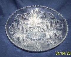 GLASS BOWL: Vintage Bryce Higbee Palm Leaf Clear Glass Bowl EAPG Round Sawtooth Edges 1900s