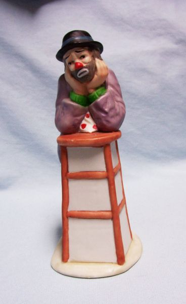 CLOWN FIGURINE: Emmet Kelly Jr. 1980's Decorative Collectible Clown Figurine - WHY ME?