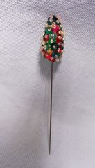 "CUSTUME JEWELRY: Vintage Red & Green Sequins Hat Pin 4 1/2"" in length"