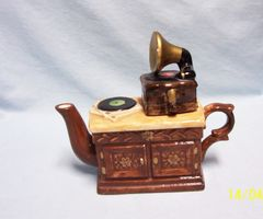 MINIATURE TEAPOT: Vintage Unique Collectible Teapot Ceramic Decorative Collectible Record Player 1960's