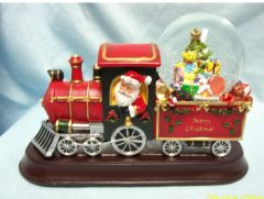 HOLIDAY ANIMATED TRAIN: Musical, Lighted, Santa Train with Animated Snowglobe - Jingle Bells