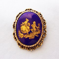 BROOCH PIN: Vintage Jewelry Cobalt Blue Pin with Filigree Gold Tone Frame Courting Couple