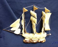 DECORATIVE COLLECTIBLE: Unique Handcrafted Equadorian Collectible Taqua Nut Sailing Ship/Boat