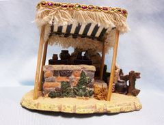 Bethlehem Village Christmas Accessories Vendor's Stand with Figurines Member's Mark Porcelain