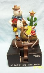 STOCKING HOLDER: Western Snowman with box of toys & Xmas Cactus Stocking Hanger