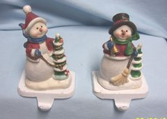 CHRISTMAS STOCKING HOLDERS: Pair Vintage Stocking Holders, Stocking Hangers Christmas Snowman with Snowlady