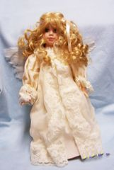 "COLLECTIBLE PORCELAIN DOLL 16"" Angel Doll Blonde Hair Green Eyes Feather Wings"