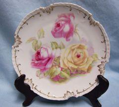 SALAD PLATE ZS & Co Zeh Scherzer Marseille Porcelain Plate Roses 1920s