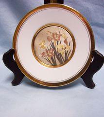 CHOKIN ART DECORATIVE PLATE Dynasty Gallery Iris with Butterflies Japan 24K Gold