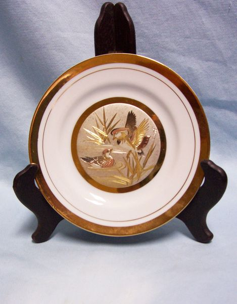 CHOKIN ART DECORATIVE PLATE Dynasty Gallery Mallard Ducks Japan 24K Gold Trim