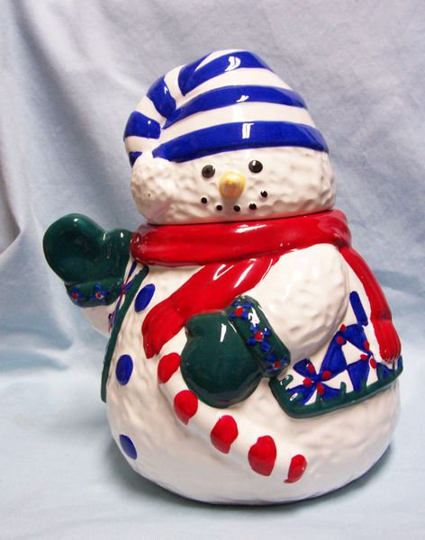 "COOKIE JAR Cute Holiday Snowman Ceramic Cookie Jar 12"" Tall Christmas Village"