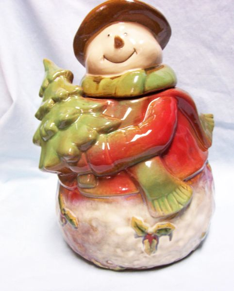 "SNOWMAN COOKIE JAR Cute Target Holiday 10"" Stoneware Christmas 2010 Cookie Jar"