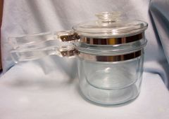 DOUBLE BOILER POT, Insert, Lid by Pyrex Clear Flameware Glassware 1936 - 1979