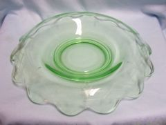 CONSOLE BOWL Green Depression Rolled Scallop Edges, Etched Lattice Floral Design