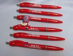 "POLITICAL MEMORABILIA PEN: (6) Red ""VOTE REPUBLICAN"" Ball Point Banner Pens 2008"