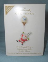 CHRISTMAS ORNAMENT 2011 Hallmark FIVE SWEET YEARS - SANTA'S SWEET RIDE Ornament