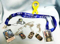 OBAMA MEMORABILIA: Set of 7 - Dog Tags, Lanyard, Key Chain, Nail Clipper + More