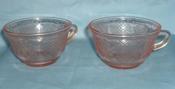 CUPS Pink Depression Vintage Pair Federal Cups with Normandie Bouquet & Lattice